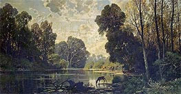 A Tranquil Wooded Scene with Deer Drinking from a Pond, undated by Hermann David Salomon Corrodi | Painting Reproduction