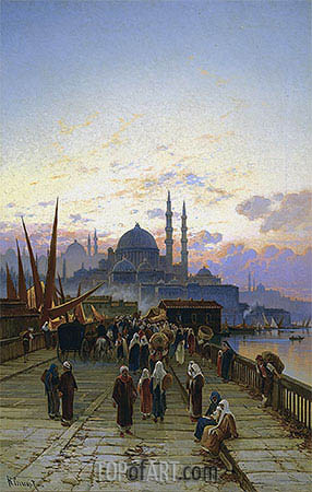 The Galata Bridge, Constantinople, undated | Hermann David Salomon Corrodi | Painting Reproduction