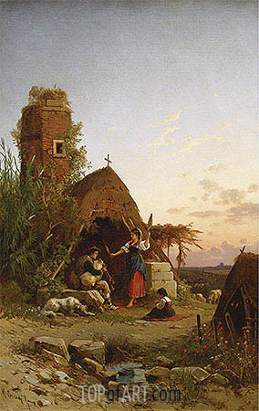 Gypsies in the Campagnia, undated | Hermann David Salomon Corrodi | Gemälde Reproduktion
