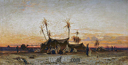 Hermann David Salomon Corrodi | An Arab Encampment at Sunset, undated