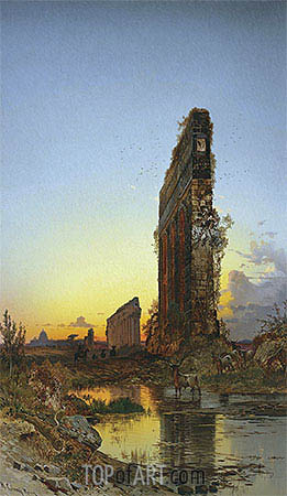 Ruins at Sunset, undated | Hermann David Salomon Corrodi | Painting Reproduction