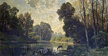 A Tranquil Wooded Scene with Deer Drinking from a Pond, undated | Hermann David Salomon Corrodi| Painting Reproduction