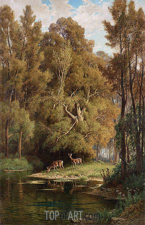 Scene in the Forest with Deers, undated | Hermann David Salomon Corrodi| Painting Reproduction