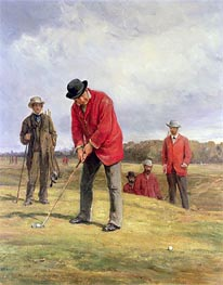 George Glennie Putting at Blackheath with Putting Cleek | Heywood Hardy | Painting Reproduction