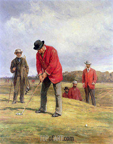 George Glennie Putting at Blackheath with Putting Cleek, 1881 | Heywood Hardy | Painting Reproduction