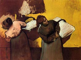 Laundresses Carrying Linen in Town, c.1876 by Degas | Painting Reproduction