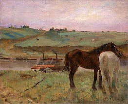 Horses in a Meadow, 1871 by Degas | Painting Reproduction