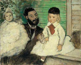 Ludovic Lepic and His Daughters, c.1871 by Degas | Painting Reproduction