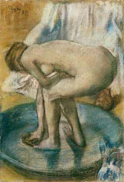 Woman Bathing in a Shallow Tub, 1885 by Degas | Painting Reproduction