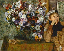 A Woman Seated beside a Vase of Flowers (Madame Paul Valpincon), 1865 by Degas | Painting Reproduction
