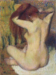 Woman Combing Her Hair, c.1888/90 by Degas | Painting Reproduction