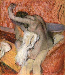 After the bath - woman drying herself, c.1895 by Degas | Painting Reproduction