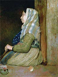A Roman Beggar Woman, 1857 by Degas | Painting Reproduction