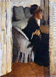 Woman Putting on Gloves, undated by Degas | Painting Reproduction