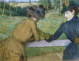 Two Women Leaning on a Fence Rail, undated by Degas | Painting Reproduction