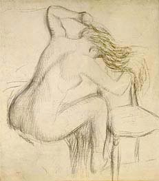 A Seated Nude Woman Styling her Hair, undated by Degas | Painting Reproduction
