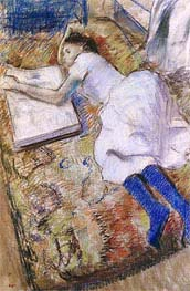 Young Girl Stretched Out Looking at an Album, undated by Degas | Painting Reproduction