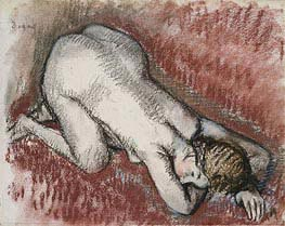 Kneeling Nude Woman | Degas | Painting Reproduction