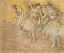 Five Dancers on Stage, c.1906/08 by Degas | Painting Reproduction