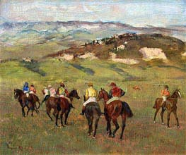 Jockeys on Horseback before Distant Hills, 1884 by Degas | Painting Reproduction