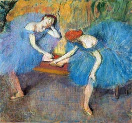 Two Dancers at Rest (Dancers in Blue), c.1898 by Degas | Painting Reproduction