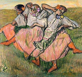 Three Russian Dancers, undated by Degas | Painting Reproduction