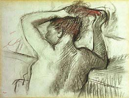 Nude Combing her Hair, undated by Degas | Painting Reproduction
