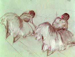 Two Ballet Dancers Resting, undated by Degas | Painting Reproduction