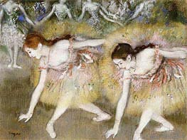 Dancers Bending Down, undated by Degas | Painting Reproduction