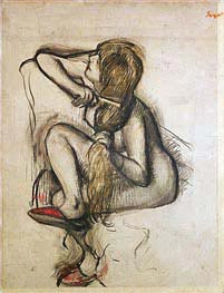 Frau kämmt ihr Haar, undated von Degas | Gemälde-Reproduktion