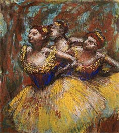 Drei Tänzerinnen (Gelb Röcke, Korsagen blau), c.1896 von Degas | Gemälde-Reproduktion