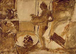 Woman Drying Herself, c.1884/86 by Degas | Painting Reproduction