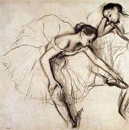 Zwei Tänzerinnen Ruhestätte, undated von Degas | Gemälde-Reproduktion