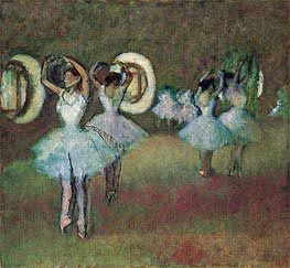 Ballerinas in der Rotunde an der Pariser Oper, 1895 von Degas | Gemälde-Reproduktion