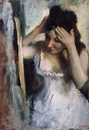 Frau vor einem Spiegel, c.1877 von Degas | Gemälde-Reproduktion