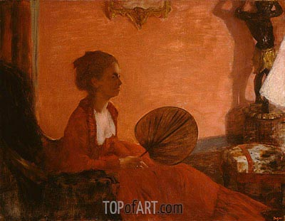 Madame Camus with a Fan, c.1869/70 | Degas | Painting Reproduction