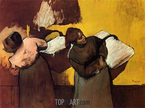 Laundresses Carrying Linen in Town, c.1876 | Degas | Painting Reproduction