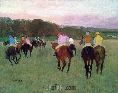 Degas | Racehorses at Longchamp, c.1871/74