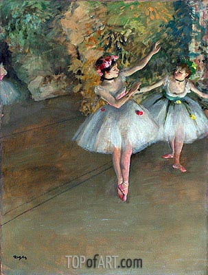 Two Dancers on a Stage, c.1874 | Degas | Painting Reproduction