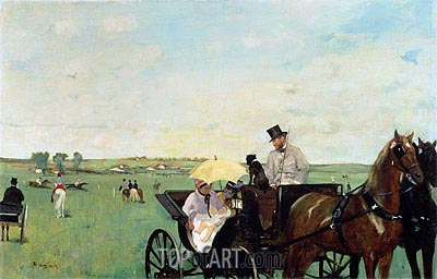 A Carriage at the Races in the Countryside, 1869 | Degas| Painting Reproduction