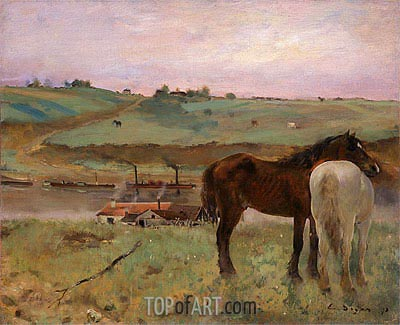 Horses in a Meadow, 1871 | Degas| Painting Reproduction