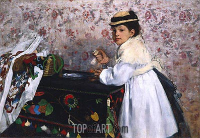 Portrait of Hortense Valpincon as a Child, 1869 | Degas | Painting Reproduction