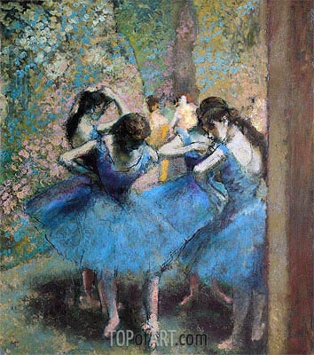 Dancers in Blue, 1890 | Degas| Painting Reproduction