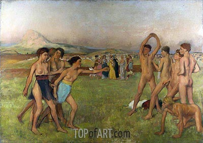 Young Spartans Exercising, c.1860 | Degas | Painting Reproduction