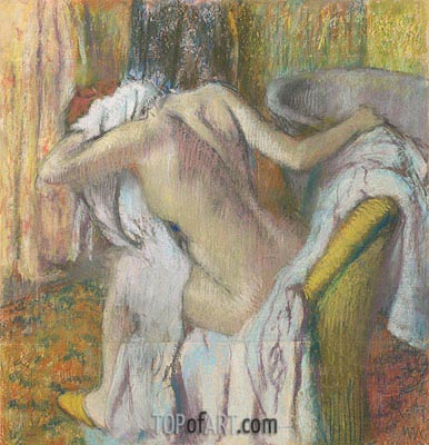 After the Bath, Woman Drying Herself, c.1890/95 | Degas | Painting Reproduction