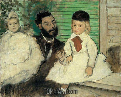 Ludovic Lepic and His Daughters, c.1871 | Degas | Gemälde Reproduktion