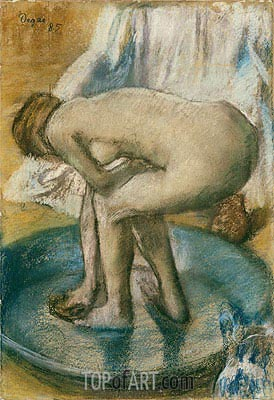 Woman Bathing in a Shallow Tub, 1885 | Degas| Painting Reproduction