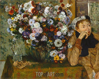 A Woman Seated beside a Vase of Flowers (Madame Paul Valpincon), 1865 | Degas | Painting Reproduction