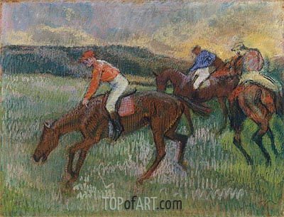 Three Jockeys, c.1900 | Degas | Gemälde Reproduktion