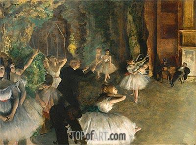 The Rehearsal of the Ballet Onstage, c.1874 | Degas | Painting Reproduction